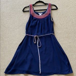 Easley navy blue embroidered knee length dress